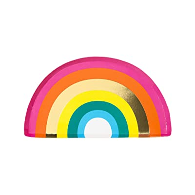 """Talking Tables RAIN Happy Birthday Rainbow Shaped Plates Party Decorations, Pack of 12, Width 24cm, 9"""", Gold Foil And Mixed colors: Kitchen & Dining"""