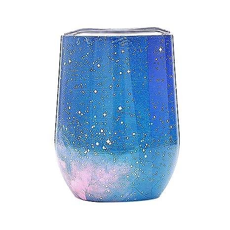 igemy 3d Fantasy estrella cielo Impreso agua Taza Multicolor acero inoxidable Stemless Vino Taza de té