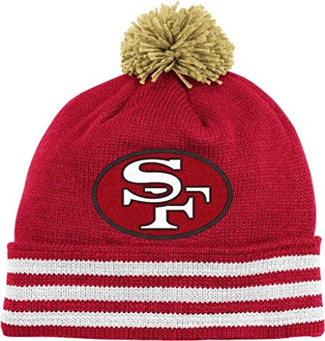 1e33137dc NFL Mitchell   Ness San Francisco 49ers Scarlet-Gold Throwback Jersey  Striped Cuffed Knit Beanie