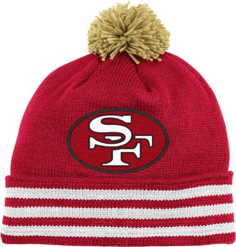 f8cc0b04b Amazon.com  NFL Mitchell   Ness San Francisco 49ers Scarlet-Gold Throwback  Jersey Striped Cuffed Knit Beanie  Clothing