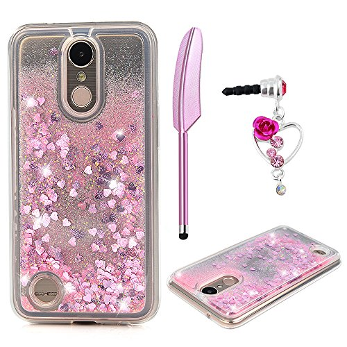 LG K10 Case 2017, LG K20 Plus Case, Glitter Liquid Case Cover Quicksand Bling Sparkle Shiny Moving Flowing Love Heart Slim Thin Soft TPU Bumper Skin for Girls with Stylus (Girl Dust)