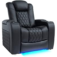 Valencia Tuscany Home Theater Seating | Top Grain Nappa Leather, Power Reclining, Power Lumbar Support, Power Headrest (2 Single Seat, Black)