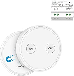 LoraTap Wireless Lights Switch Kit, 915MHz 656ft Range Remote Control Lamps Ceiling Light Fan Household Appliances, 5 Years Warranty (Switch and Receiver)