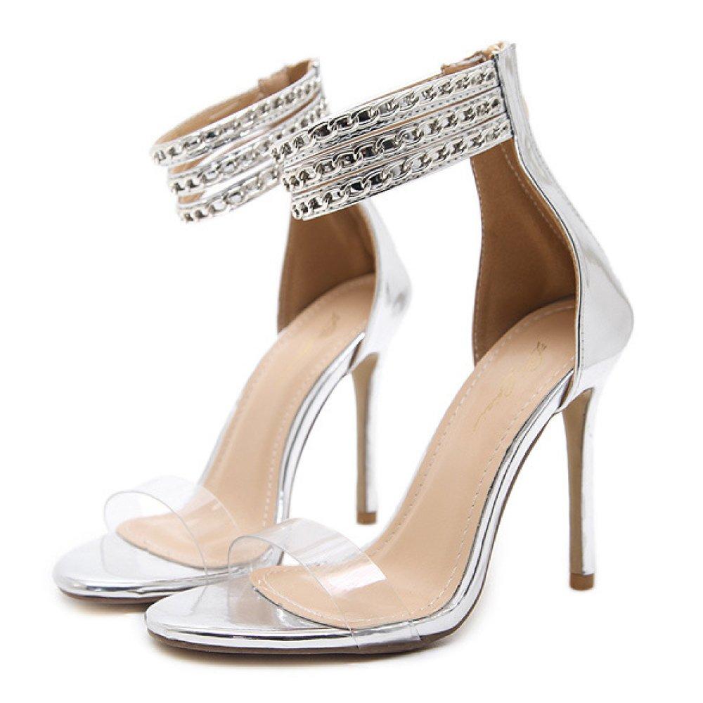 Frauen Sexy Knöchelriemen Party Sandalen Ausgeschnitten Stiletto High Heels Damen Peep Toe Schuhe Club Hochzeit Riemchen Pumps
