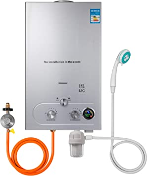 Hopopula Upgrade Tipo 18L LPG Gas-Warmwasserbereiter sin Tanque con Duschkopf Kit Wasserfilter & Gasregler (18L LPG)