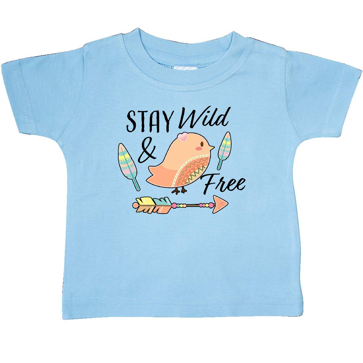 inktastic Stay Wild /& Free with Chick Feathers and Arrow Baby T-Shirt