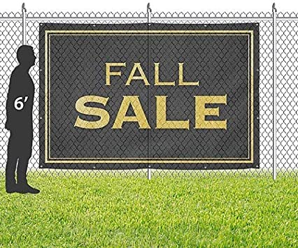 Fall Sale 9x6 Classic Gold Wind-Resistant Outdoor Mesh Vinyl Banner CGSignLab