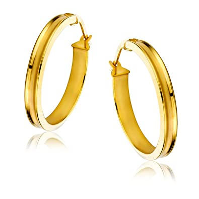 Orovi Woman Hoops Earrings 9 ct / 375 Yellow Gold With Diamonds Brilliant Cut 0.10 ct jPJxyebG