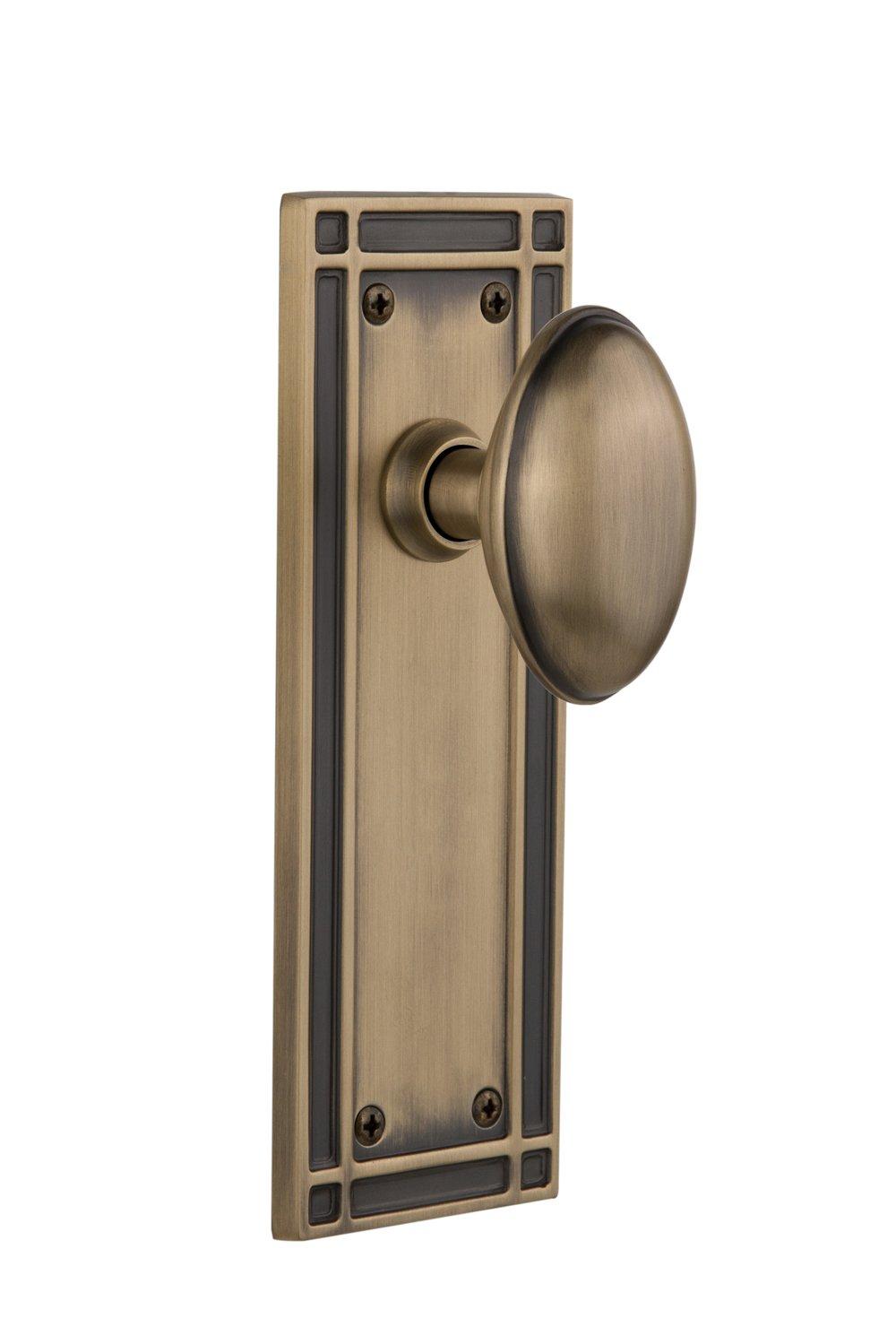 Antique Brass Single Dummy Nostalgic Warehouse Mission Plate with Homestead Knob