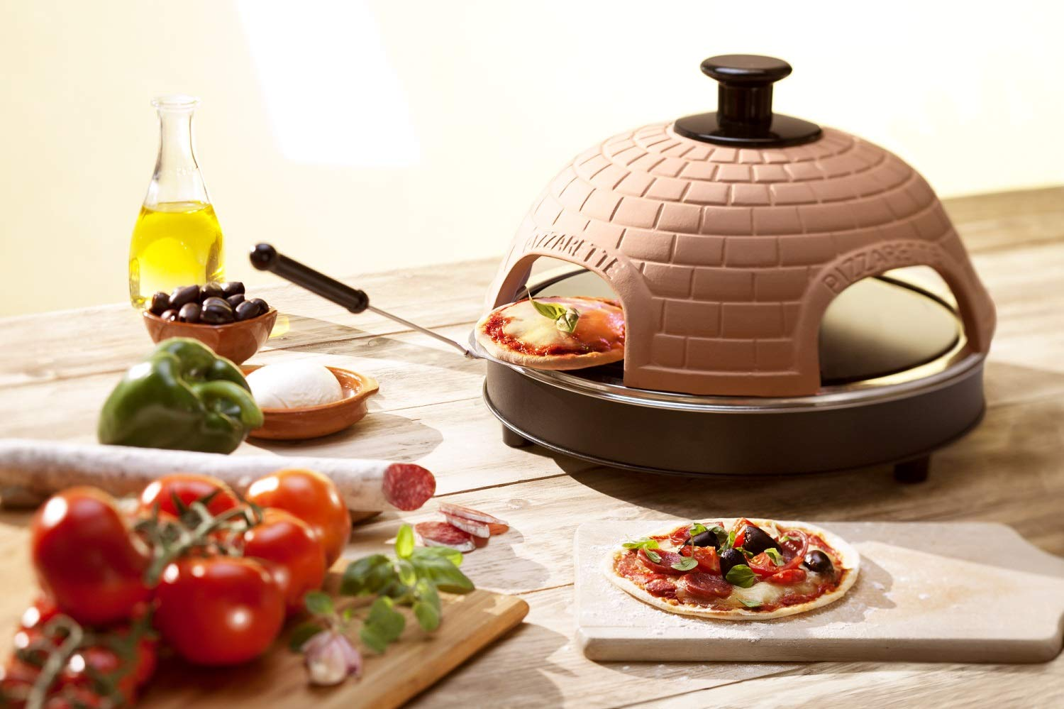 Pizzarette - The World's Funnest Pizza Oven - 4 Person Model - Countertop Pizza Oven - Europe's Best selling Pizza oven now available in the USA - Dual heating elements Tabletop Chefs 48020