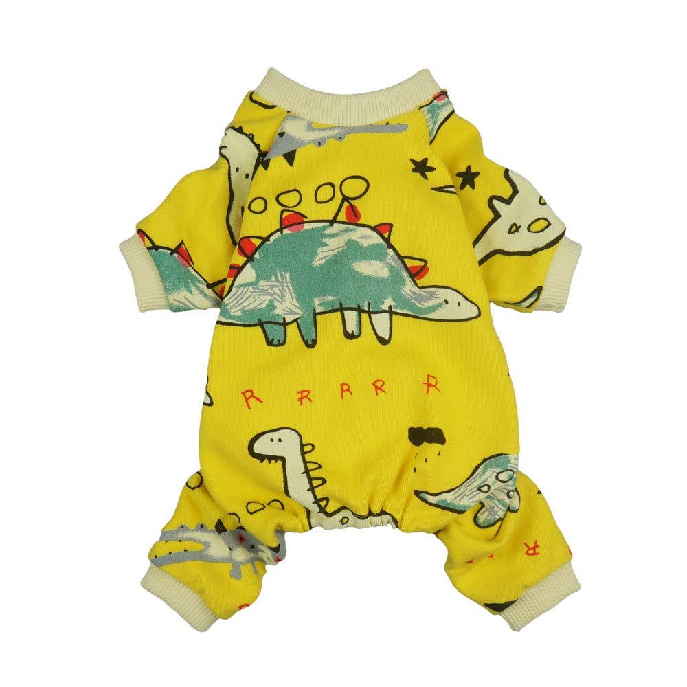 Fitwarm Dinosaur Pet Clothes for Dog Pajamas Cat PJS Jumpsuits Shirts Cotton Yellow Medium