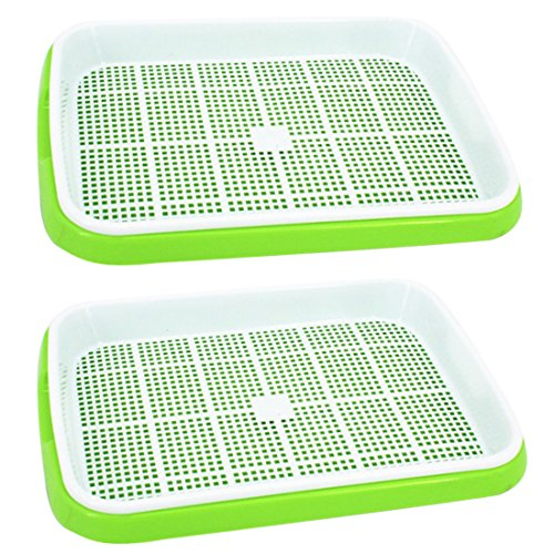 $15.97 Seed Sprouter Tray, Yamix 2 Set Two-Tiered Seed Sprouter Tray Kitchen Crop Sprouter Germination Tray Hydroponics Basket (Green + White) 2019