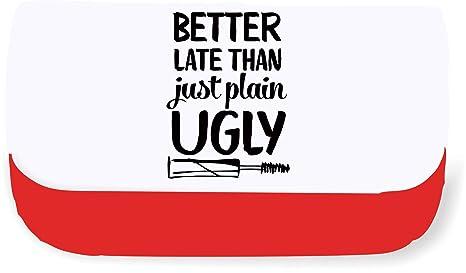 Mejor Tarde Que Solo Plain feo Make Up declaración embrague bolsa o estuche, color rosso