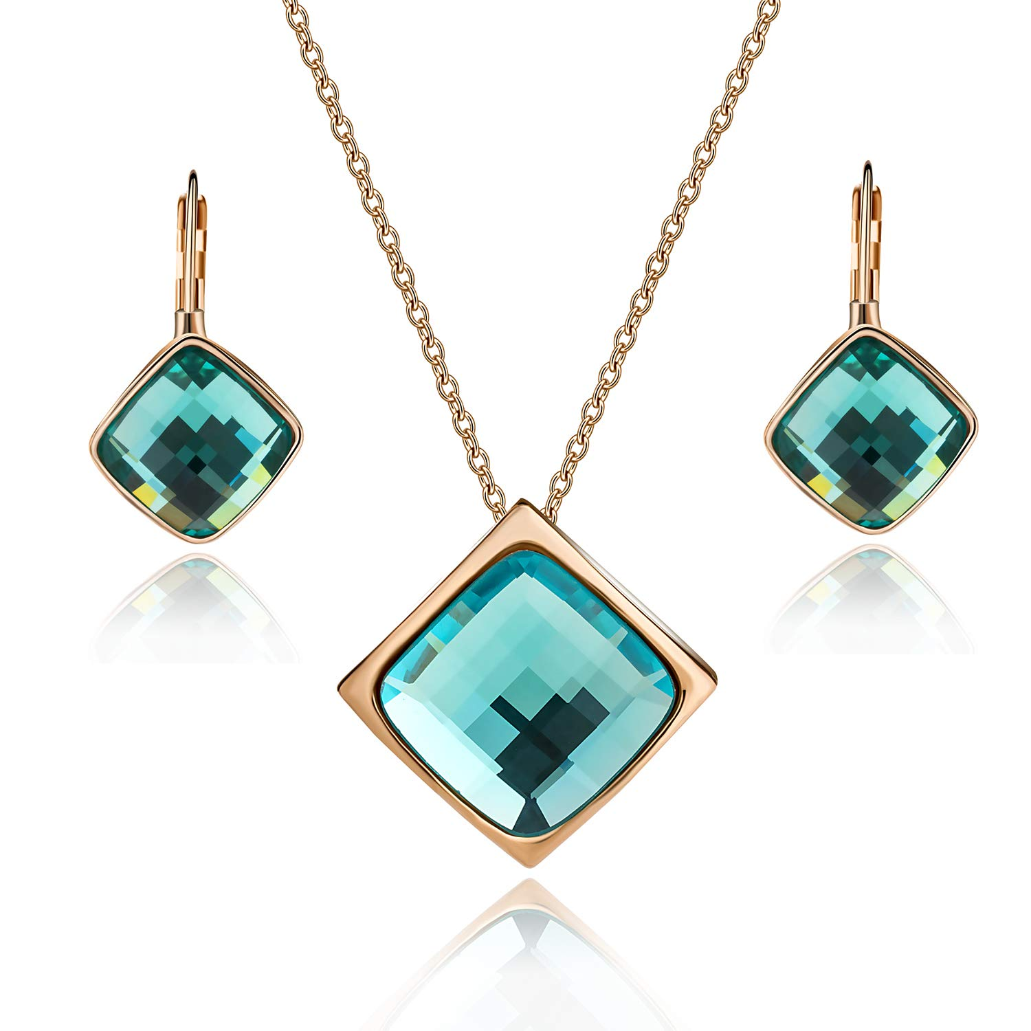 EVEVIC Square Austrian Crystal Necklace Earrings Set for Women Girls 18K Gold Plated Jewelry Set (Green)