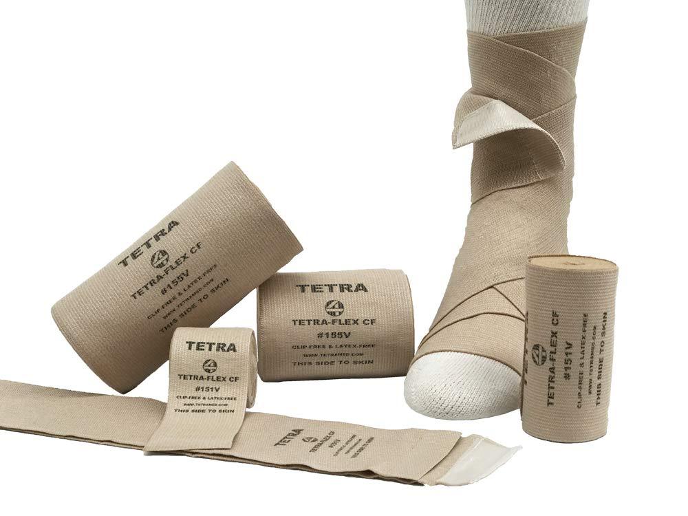 Tetra-Flex CF, Clip Free Deluxe Woven Elastic Bandage, 6'' X 5.5Yd, Latex Free, 12 per Box