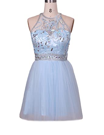Illusion Back Crystal Beading Homecoming Juniors Prom Dresses Short Formal Gowns Women H31 at Amazon Womens Clothing store: