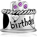 LovelyJewelry Happy Birthday Cake Charm Synthetic Crystal Candles Jan-december Simulated Birthstone Holiday Beads