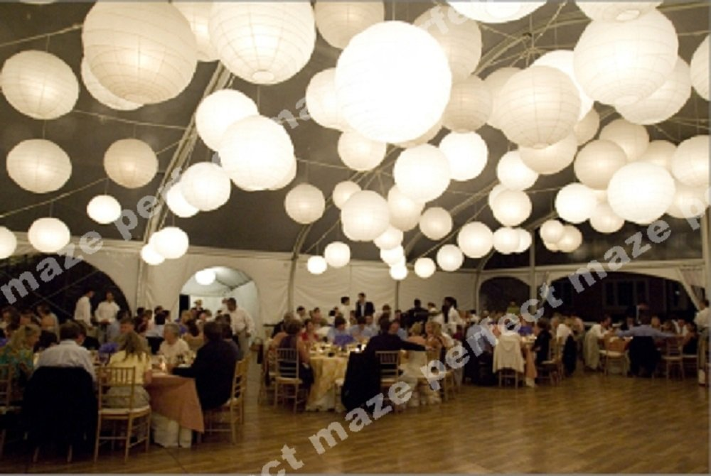 Perfectmaze 60 Piece White Round Chinese Paper Lantern with Led Mixed Size (6''8''10''12''14''16'') for Wedding Party Engagement Decoration by Perfect Maze