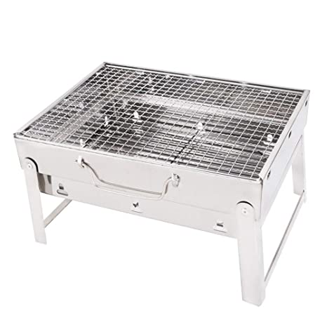 Supreme Mall Portable Stainless Steel Charcoal Barbecue Grill (Silver)