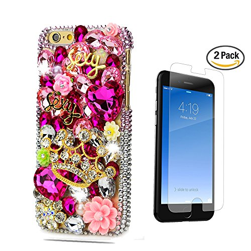 STENES iPhone 8 Case - 3D Handmade Luxury Golden Crown Sexy Flowers Sparkle Rhinestone Design Cover Bling Case For iPhone 7 / iPhone 8 With Screen Protector & Retro Bowknot Dust Plug - Red
