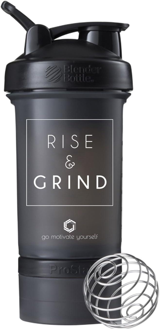 Motivational Quote on Blender Bottle Brand Shaker Bottle, 20 or 28 ounce capacity, Fitness Gift, Includes BlenderBall Whisk, Dishwasher Safe (ProStak with Storage - Rise Black)