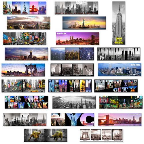 24 Various Collectible NYC New York Panoramic Photo Wide Magnets NYC 5x1.6 inch - Pack of 24 (Refrigerator York Magnet New)