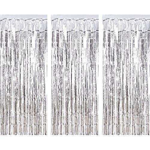 Sumind 3 Pack Metallic Tinsel Curtains, Foil Fringe Shimmer Curtain Door Window Decoration for Birthday Wedding Party (Silver) ()