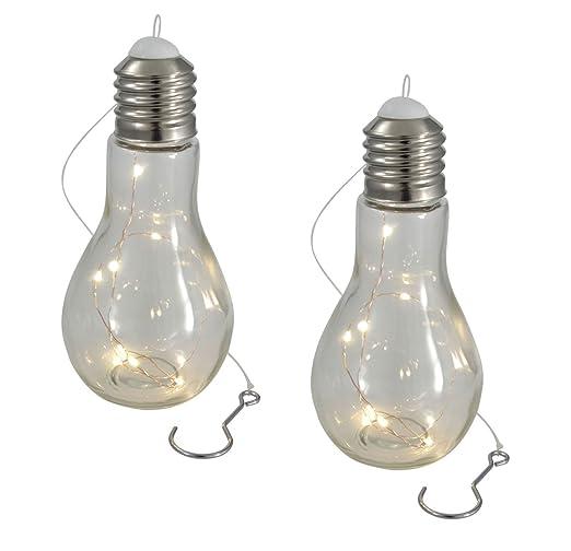 Bombilla LED con luz cadena - 2 Unidades - Bombilla de cristal ...