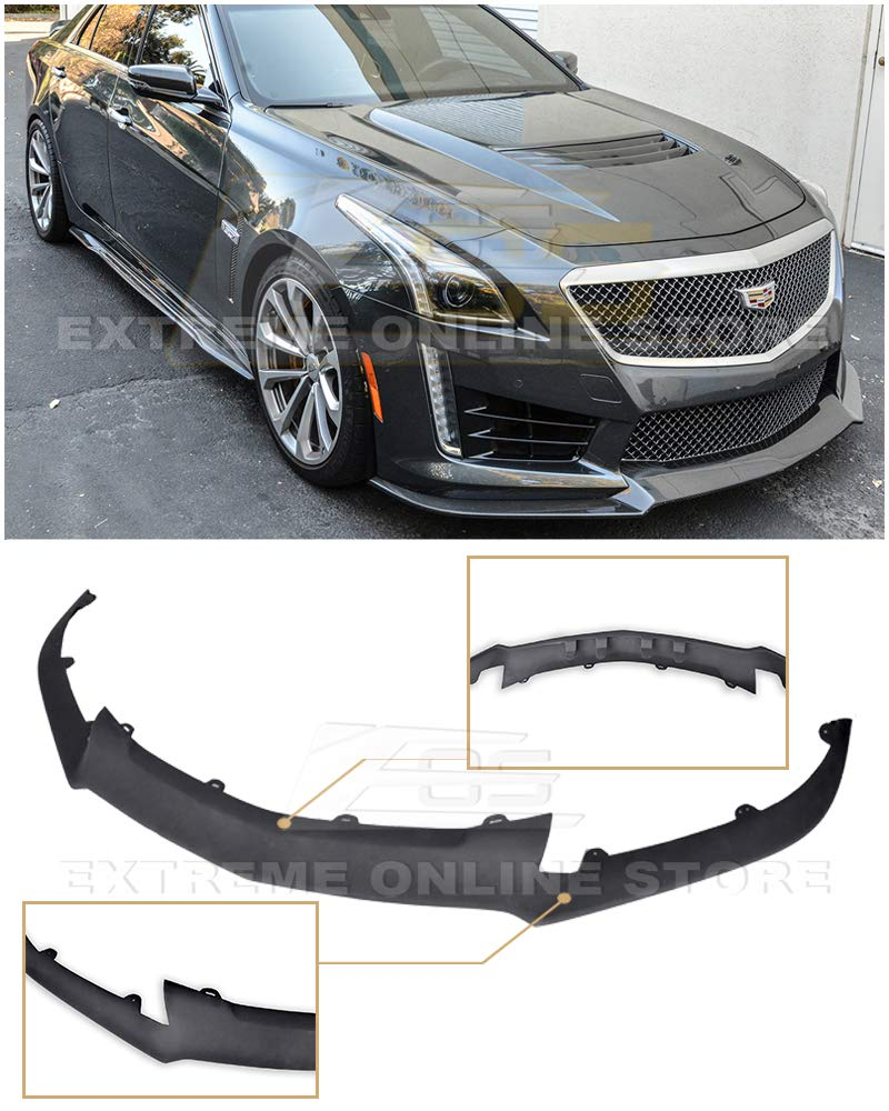 Extreme Online Store Replacement for 2016-Present Cadillac CTS-V CTSV   EOS Carbon Package Style ABS Plastic Primer Black Front Bumper Lower Lip Splitter