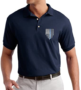 24237234 Men A2S Addicted2shirts Brand Embroiderd Blue Line Black American Flag  Police Cops Pride Embroidered Polo Shirt ...