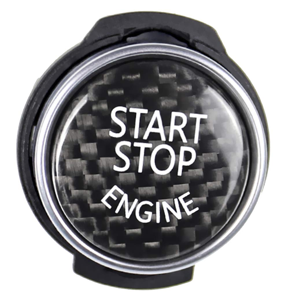 non-brand Homyl Schwarz Kohlefaser Auto Motor Start Stop Switch Button Aufkleber