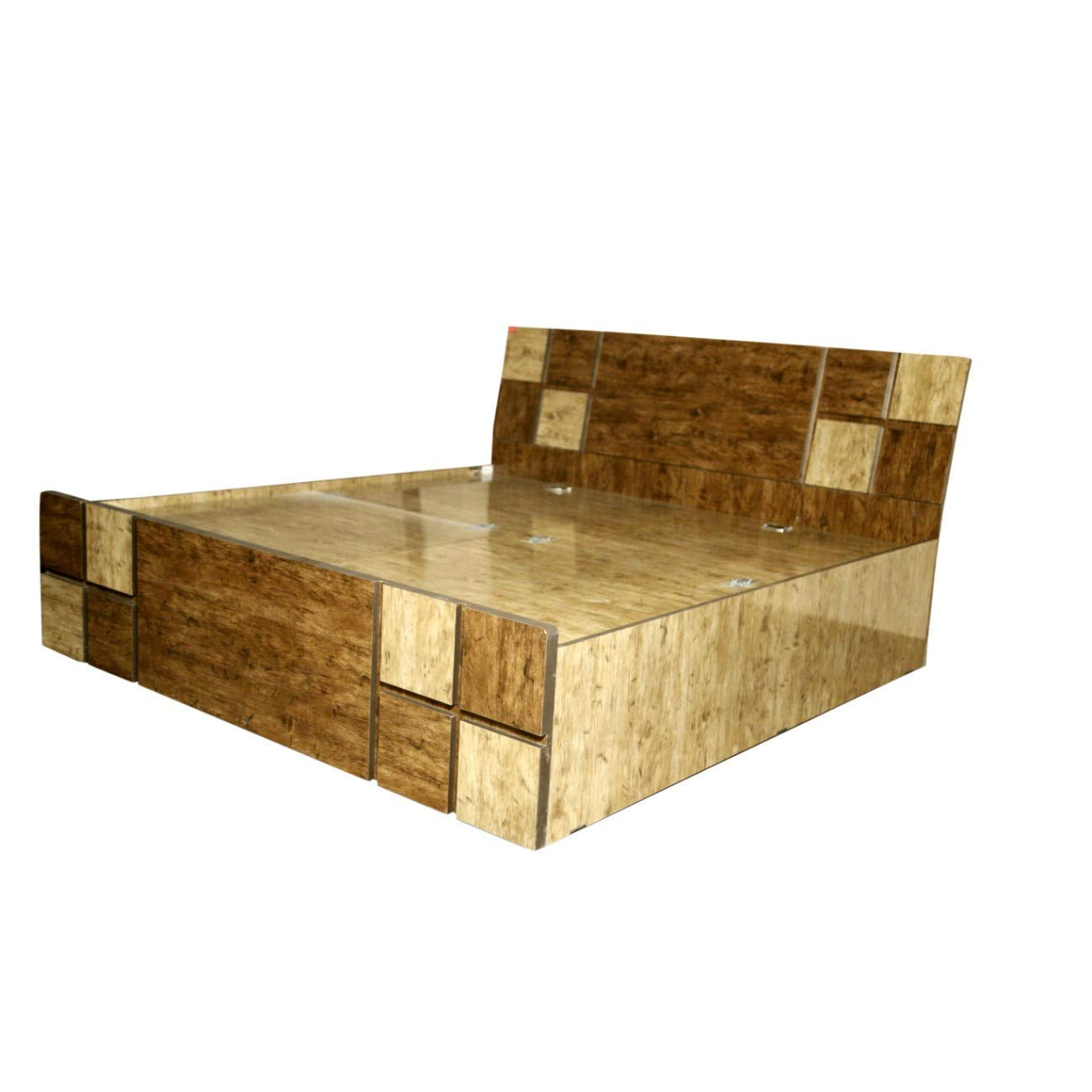 Dk furniture engineered wood checks queen bed box amazon in home kitchen