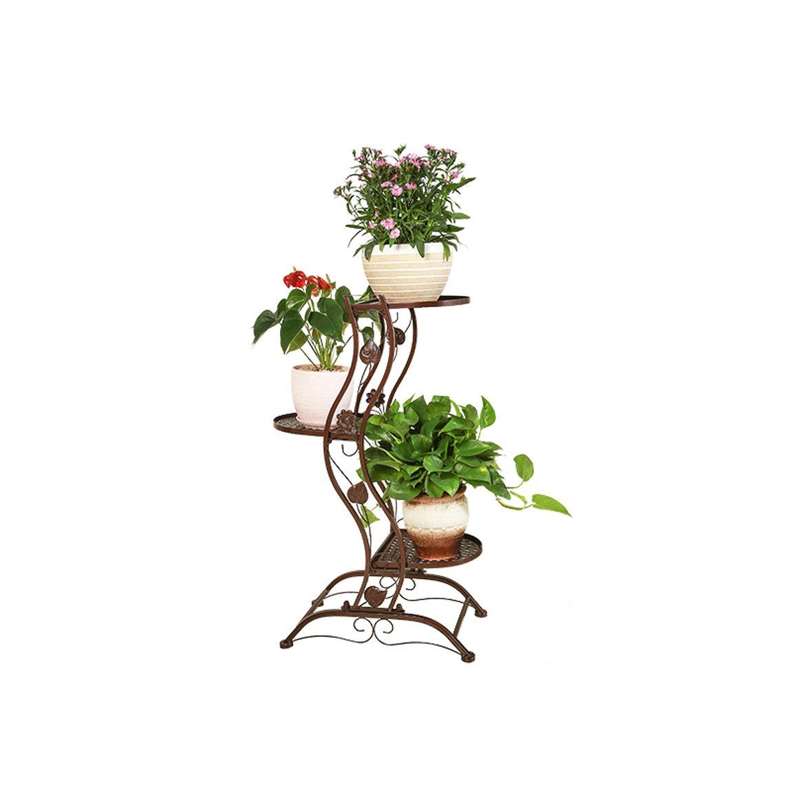 LRW European Flower Rack, Iron Art, Creativity, Green Lace, Chlorophytum, Floor, Multi-Storey Flower Rack Balcony, Fleshy Flower Rack, 3 Layers of Brown.