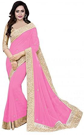 479f83a110 Signamio Women's Georgette Sarees with Blouse Gold patta (Baby Pink ...