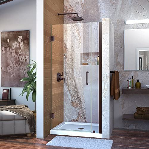 DreamLine Unidoor 31-32 in. W x 72 in. H Frameless Hinged Shower Door, Clear Glass, in Oil Rubbed Bronze, SHDR-20317210-06