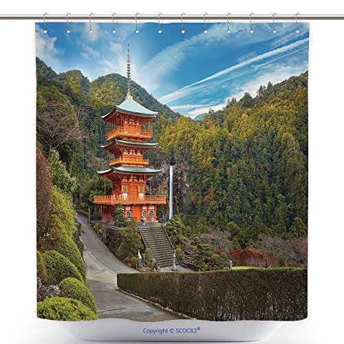 Waterproof Shower Curtains Pagoda Of Seiganto Ji Temple At Nachi Katsuura With Nachi No Taki Fall In Wakayama Japan 400330714 Polyester Bathroom Shower Curtain Set With Hooks