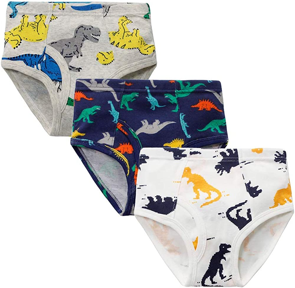 6-Pack Little Boys 100/% Cotton Briefs Dinosaur Truck Toddler Kids Underwear set