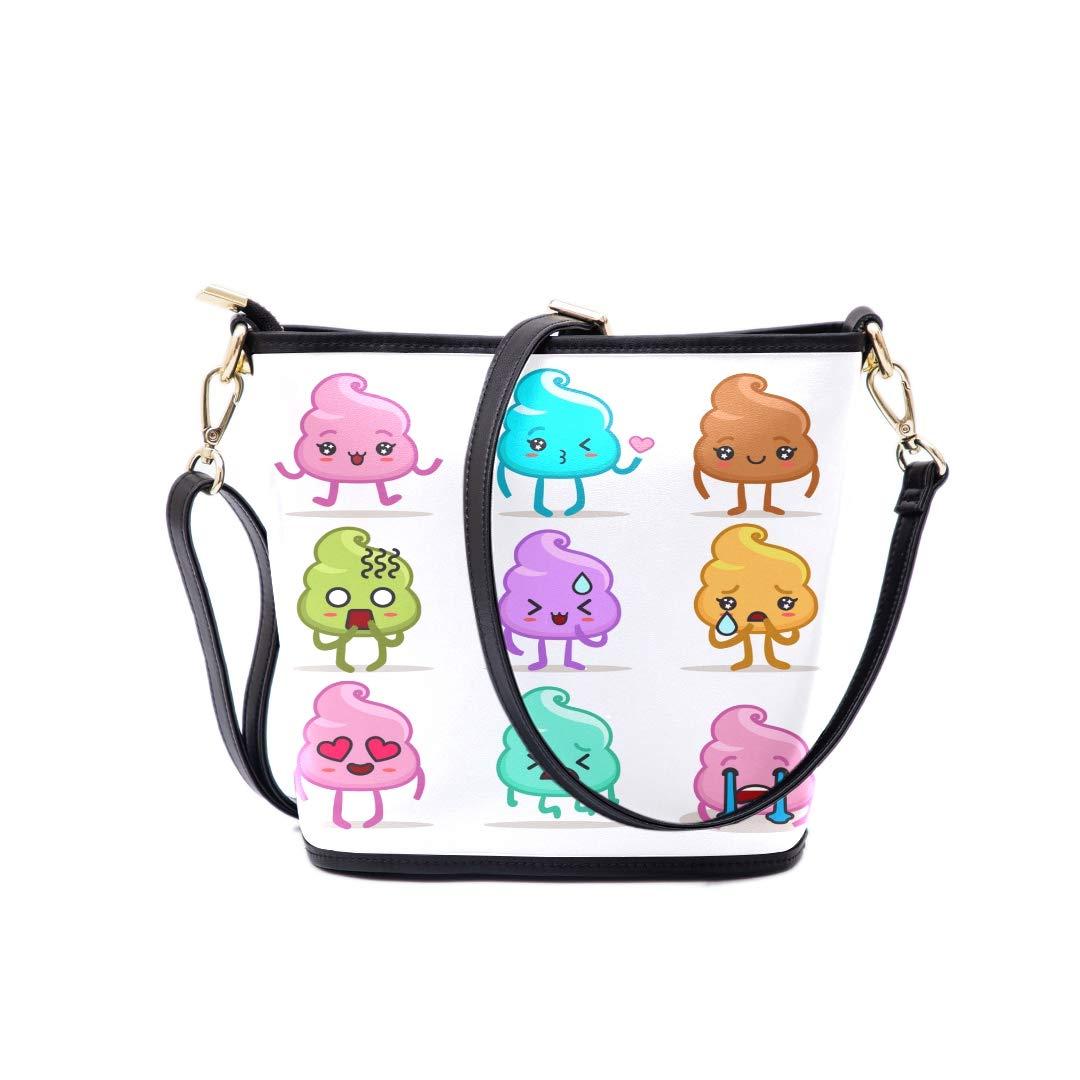 Boys Crossbody Bag Cute Emotional Poop Expression Emoji Multi-functional Wristlet Zipper Pocket Small Wristlet Mens Shoulder Messenger Bag Womans Overnight Bag Wonder Woman Overnight Bag
