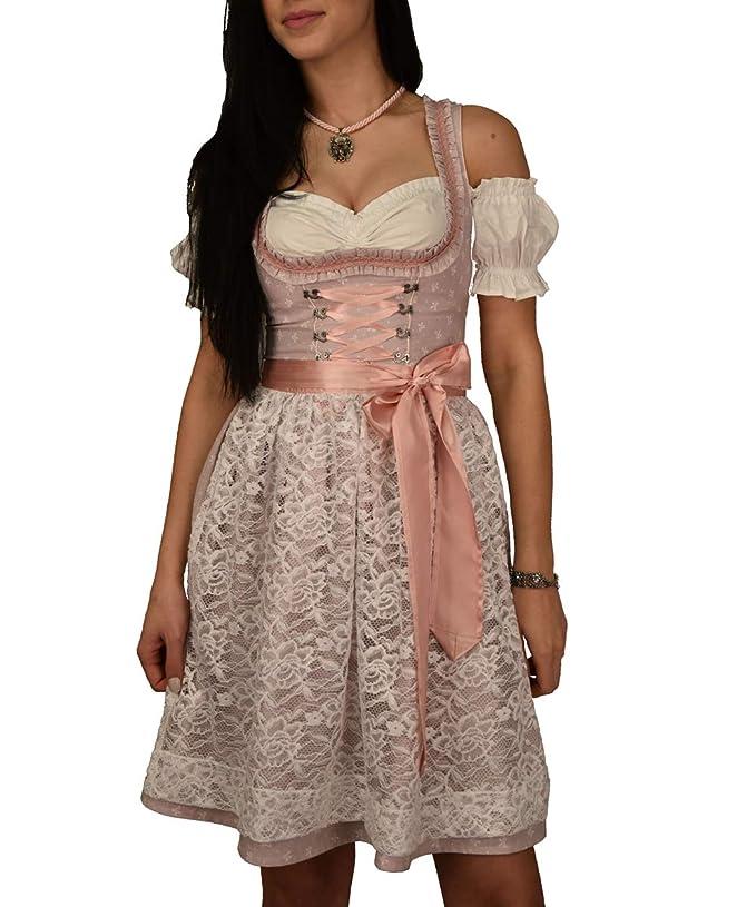 Golden Trachten-Kleid Dirndl 3 TLG Set, Damen Midi für Oktoberfest, Pastelviolett mit Schleifchen Muster, 521GT