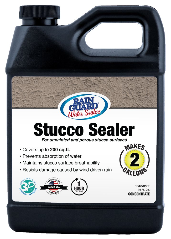 Rainguard SP-7002 32 Oz Concentrate (Makes 2 Gallons) Premium Stucco Sealer, Water Repellent Protection for Stucco