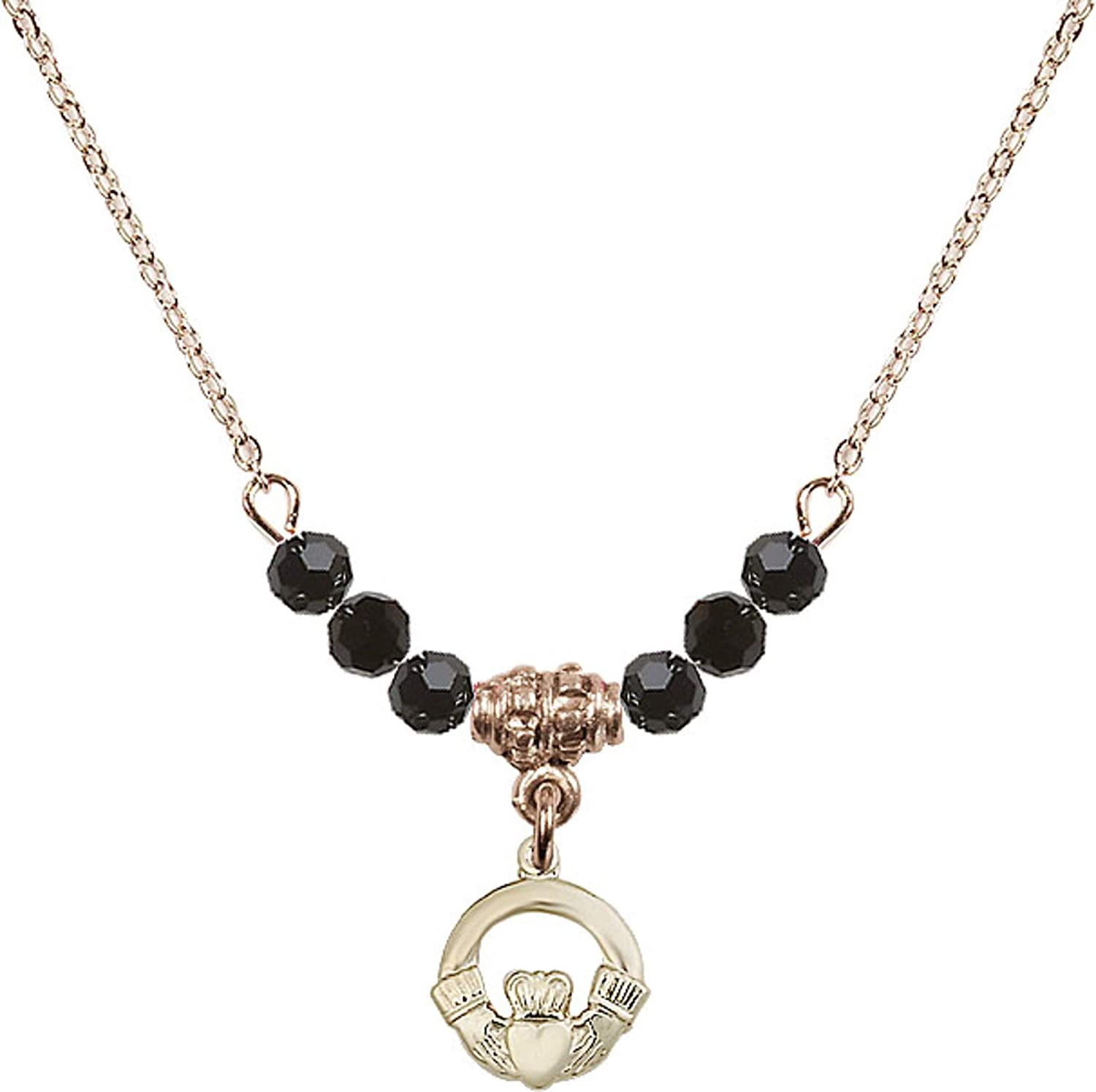 Bonyak Jewelry 18 Inch Hamilton Gold Plated Necklace w// 4mm Jet Birth Month Stone Beads and Claddagh Charm