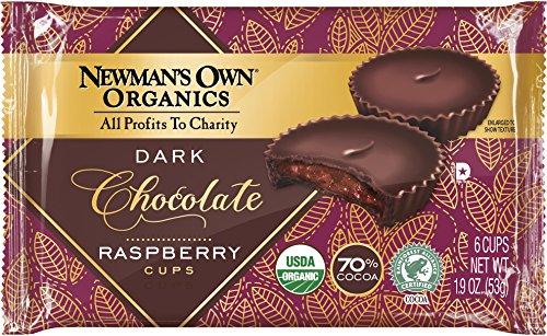 Newman's Own Organics Organic Super Dark Chocolate Cups, Raspberry, 1.9 Ounce (Pack of 16)