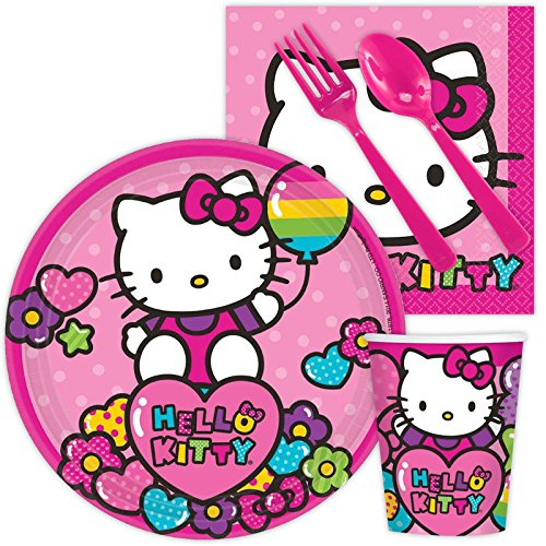 (Costume SuperCenter Hello Kitty Rainbow Birthday Party Standard Tableware Kit Serves)