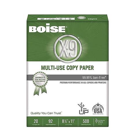 """20 8 1//2/"""" x 11/"""" Letter Size 92 Bright Boise CASOX9001 X-9 Multipurpose Paper"""