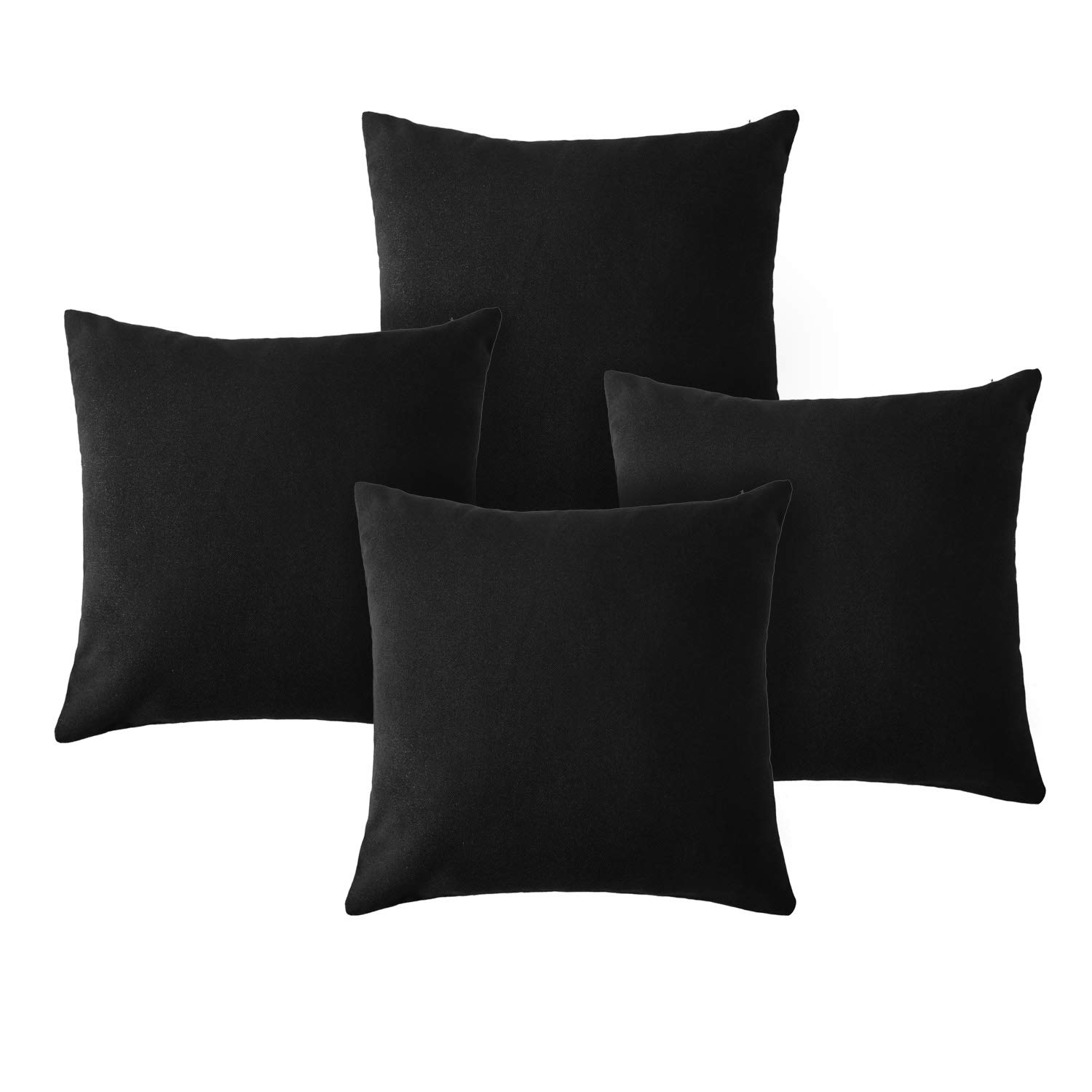 Deconovo Faux Linen Cushion Covers Hand Made Pillow Case Square Cushion Covers for Dining Chairs with Invisible Zip Set of 4 Black