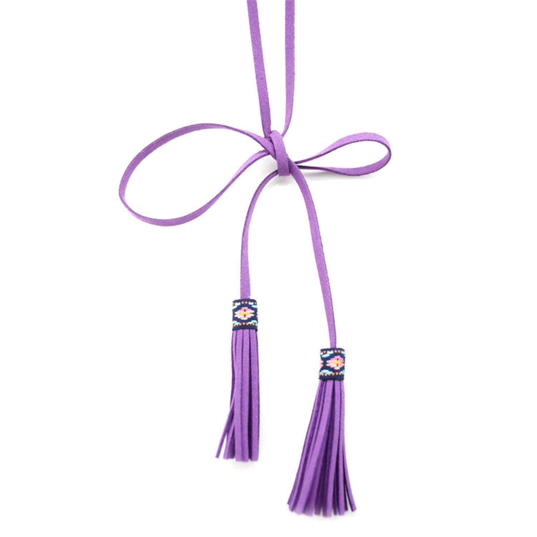 Mainstream Fashion Long Knot High Waist Female Leather,170cm,Lavender