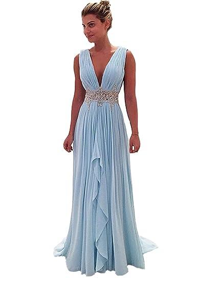 123490928dea Half Flower Bridal Deep V Neck Evening Dress Backless Rhinestone Chiffon  Prom Dress Style 12 SkyBlue