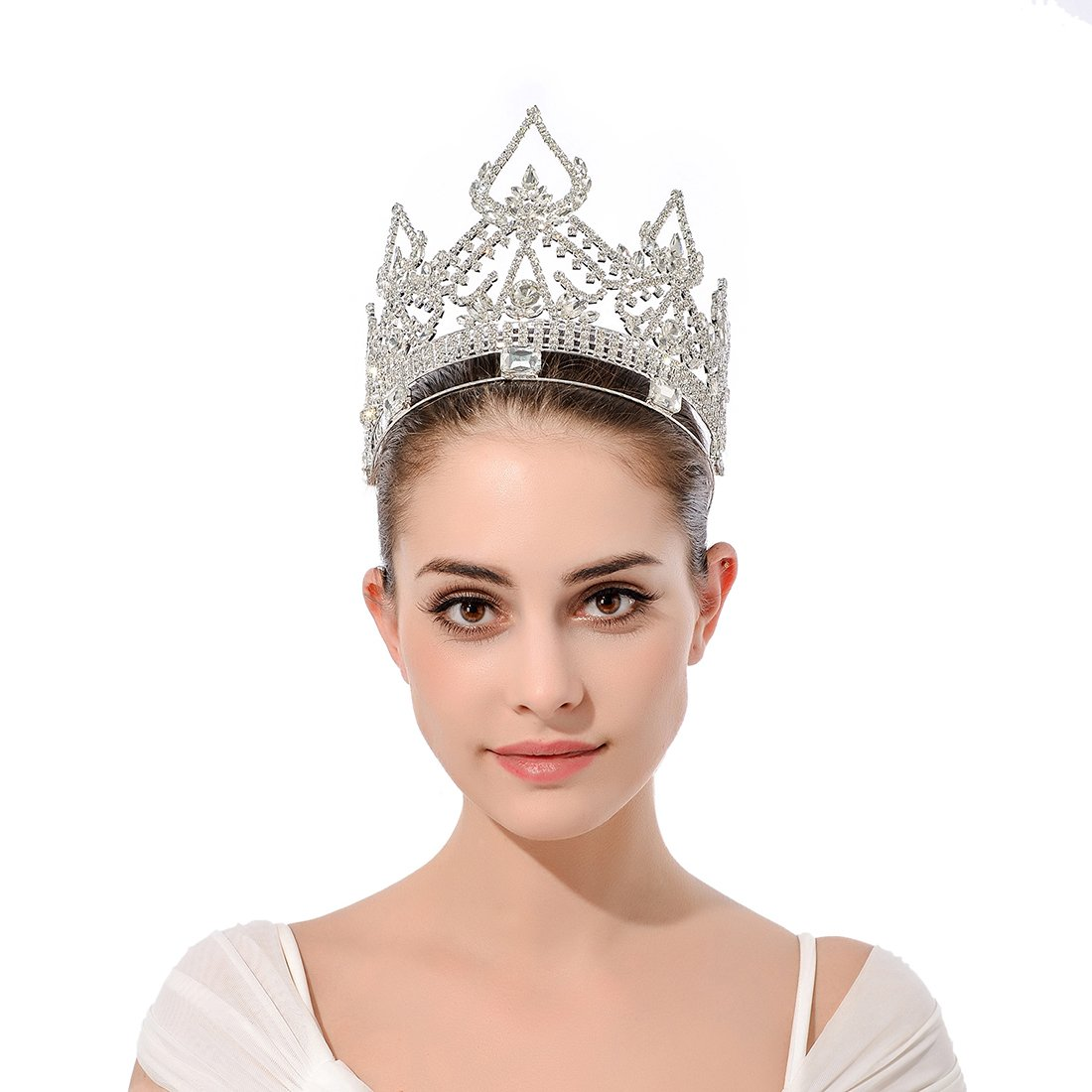 DcZeRong Women Crowns Queen Crowns For Women Prom Pageant Party Rhinestone Crystal Full Crowns by DcZeRong (Image #8)