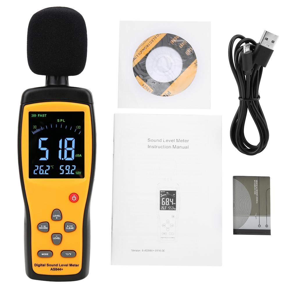 Sound Level Meter, AS844 + Sound Level Meter Digital Sound Level Meter Decibel Meter Noise Monitor DB Meter Noise Meter 30-130dBA / 35-130dBC, 2.7in Large LCD Screen by Acogedor