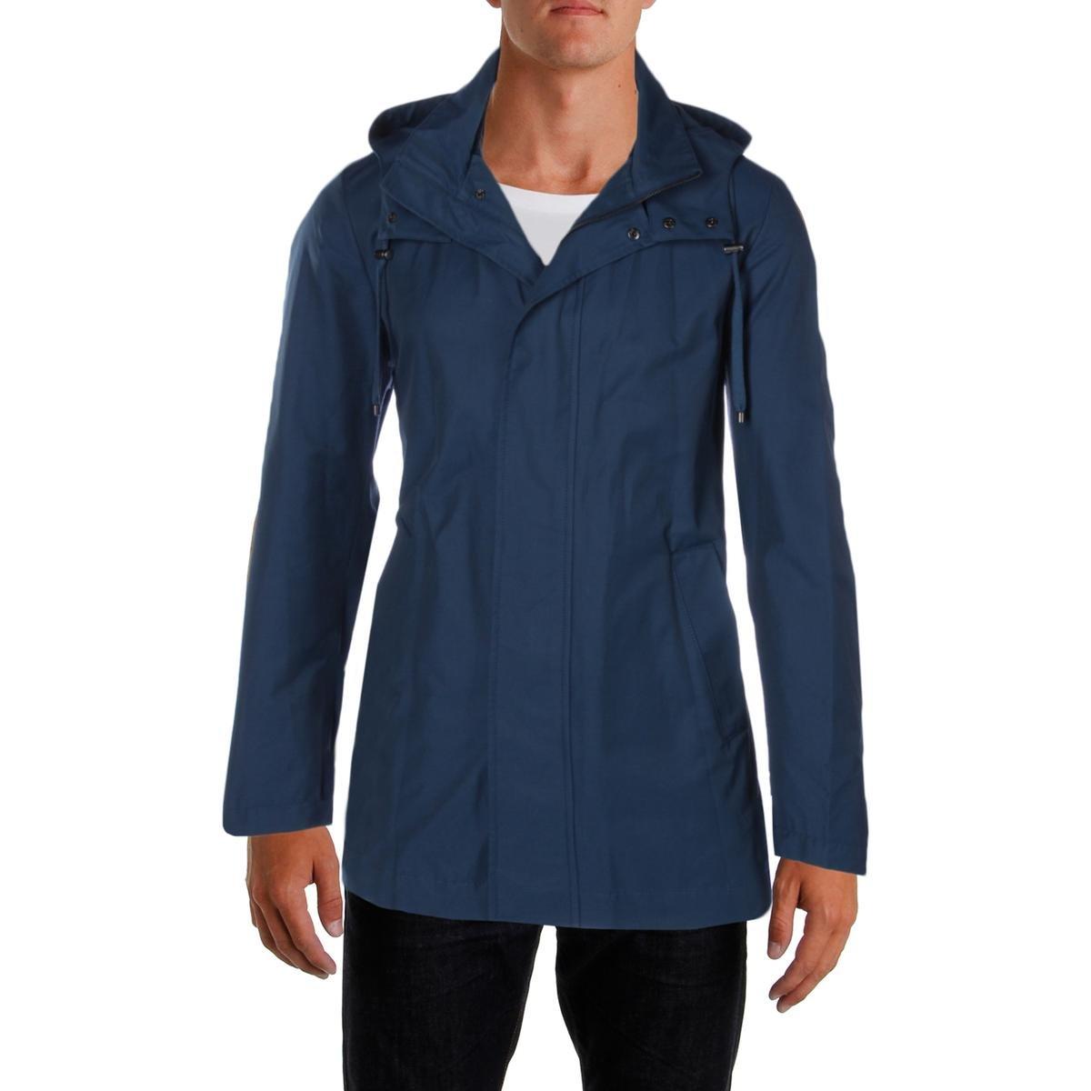 Lauren Ralph Lauren Mens Water Repellent Hooded Raincoat Blue 46L